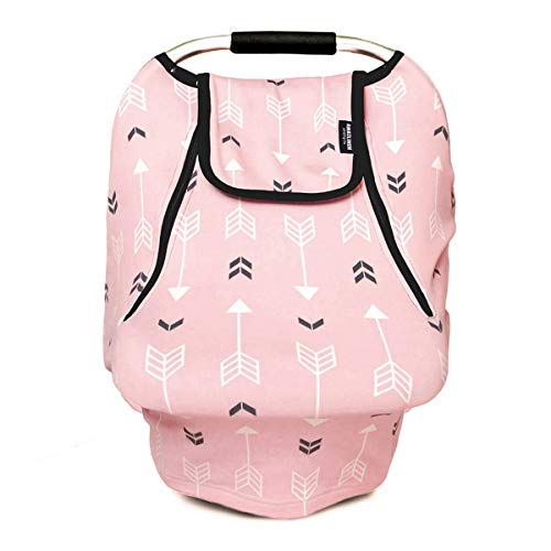 Stretchy Baby Car Seat Covers for Boys Girls, Infant Car Canopy Spring Autumn Winter,Snug Warm Breathable Windproof, Adjustable Peep Window,Universal Fit,Pink Arrowshower