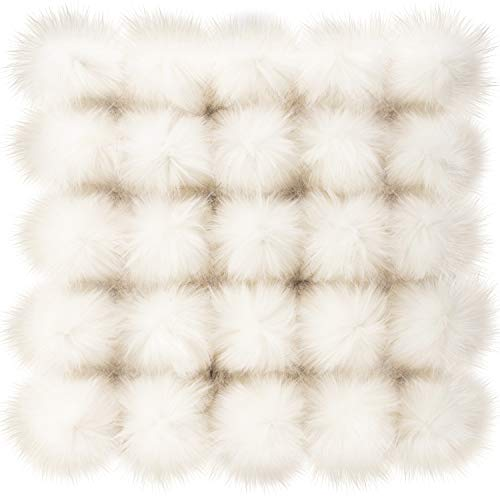 Junkin 50 Pieces Faux Fur Pom Pom Balls Faux Fur DIY Pom Poms Fluffy Pompom Ball with Elastic Loop for Hats Keychains Scarves Gloves Bags Accessories (White)