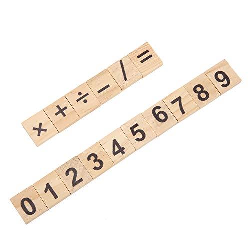 200pcs Número de madera Azulejo 0-9 Número Conjunto Número de madera Juego de cartas Herramienta de cálculo de aprendizaje(Digital mix)