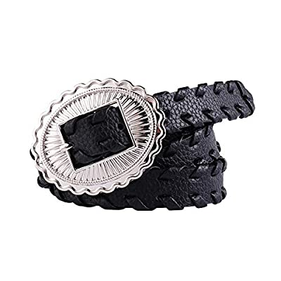 Women's Belt Women's Retro Black Woven Pu Imitation Belt Fashion Wild Design Thin Belt Suitable for Jeans/Dress, 103cm long