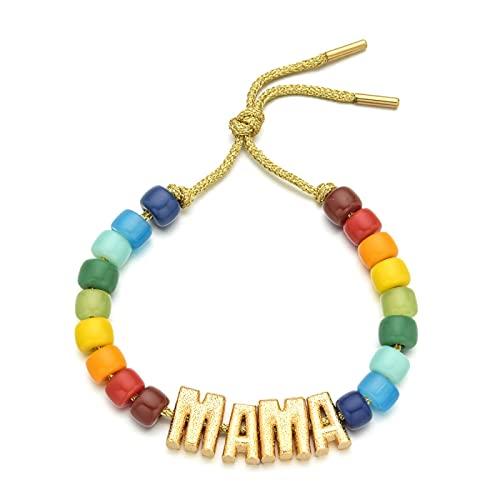 Pulseras de letras de colores iniciales de piedra colorida, cadena de cuerda ajustable, joyería de arcoíris para regalo de mujer