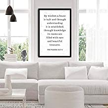 by Wisdom A House is Built Knowledge Proverbs Quote A House is Built with Scripture Art Proverbs 24 Vs 3-4 Christian Bible Verse Signs