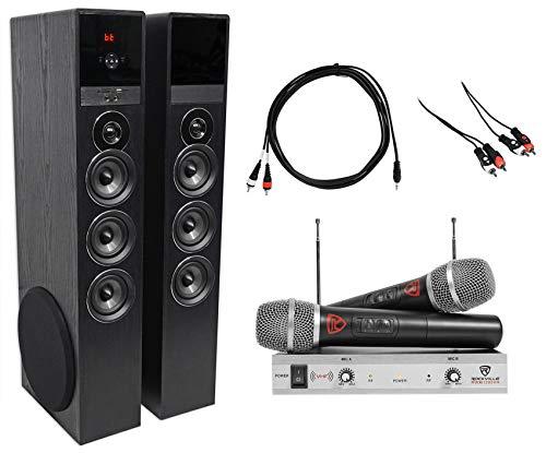 Rockville Bluetooth Home Theater/Karaoke Machine System w/Wireless Mics+Subs