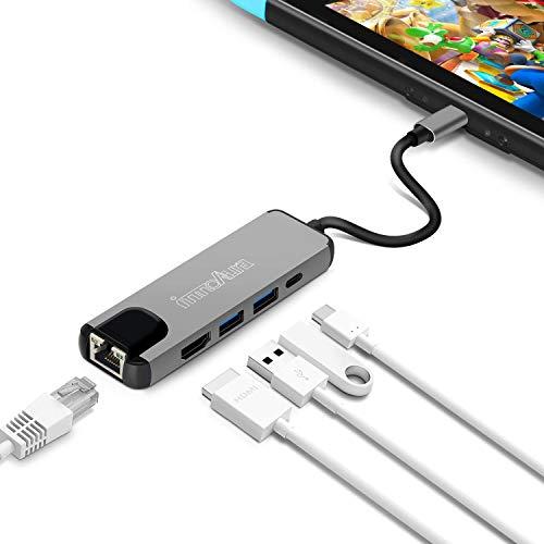Nintendo Switch用 TYPE-C TO HDMI変換アダプター-innoAura 有線LAN アダプター 最強5in1機能 ドック 代わ...
