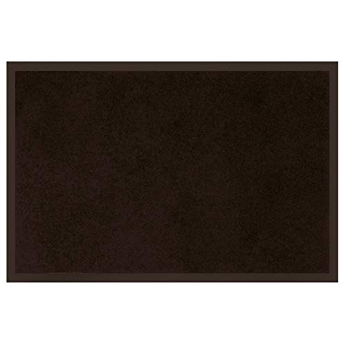 douceur d'intérieur tapis d'entree rectangle 40x60 cm anti-poussiere telio noir