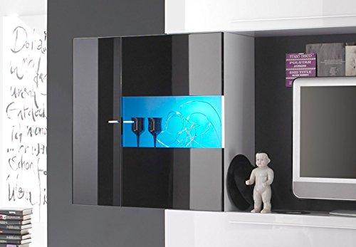 Wohnwand PRIMO A TV Anbauwand weiß und schwarz Hochglanz lackiert - 3