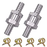 2PCS Válvula de Retención de Combustible Válvula Antirretorno de Retorno de Combustible de Aluminio Aleación Gasolina Diesel Oil Válvula Antirretorno para Coche Carburador (8MM)