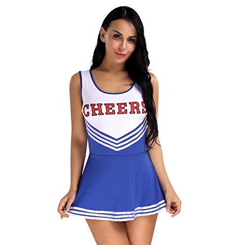 YiZYiF Sexy Minirock Mädchen Damen Kleid Babydoll Nachtwäsche Cosplay Schulmädchen Kostüm Cheerleader Kleid Dessous Karneval Fasching Halloween Kostüm Blau XL