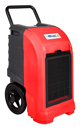 BlueDri BD-76P-RED BD-BD-76-RD BD-76 — 76 AHAM/150 Saturation PPD Industrial Commercial Grade Water Damage Equipment Large Dehumidifier for Home, Basements, Garages, and Job Sites, Red, Pints