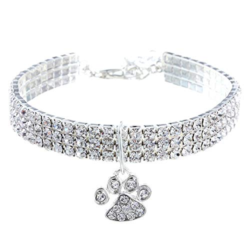 RayMinsino Pet Collar with Diamonds, Adjustable Crystal Diamond Elastic Heart Claw Pendant Wedding cat and Dog Small pet Necklace Jewelry, White