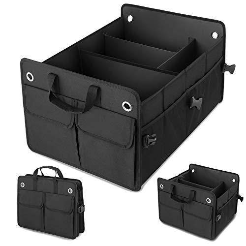 AmorFA Auto Kofferraum Organizer, Auto-Aufbewahrungsbox Zurrgurten, zusammenklappbarer Kofferraumtasche Kofferraum-Organizer Auto Kofferraum Organizer-Upgrade …