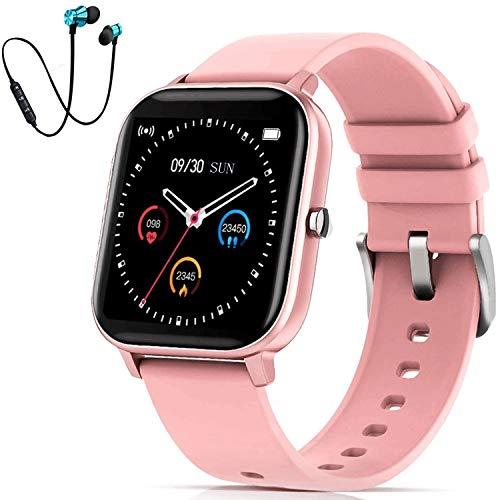 DUODUOGO K10 Reloj Smartwatch, Reloj Inteligente Mujer y Hombre, IP68 Impermeable Pulsera Actividad Deportivo, 1.4'' Pantalla Táctil Reloj con Pulsómetros y Monitor de Sueño para Android iOS (Rosa+)