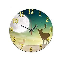MUNIU Antelope Figure Living Room Digital Retro Wall Clock Acrylic Mute Home Creative Fashion Clock Borderless Alarm Clock
