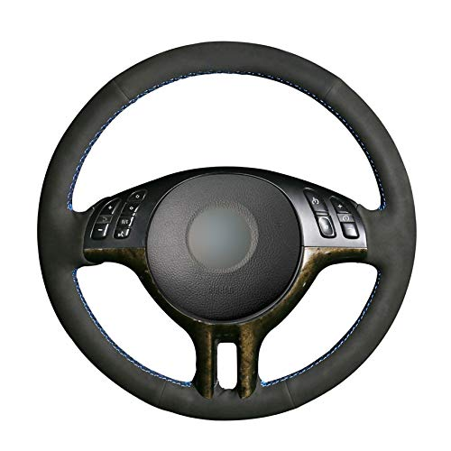 QOHFLD Steering Wheel Cover,Hand-Stitched Black Suede Steering Wheel Cover,for BMW 3 Series E46 2000-2005 5 Series E39 2000-2003 E53 X5 1999-2003 Z3