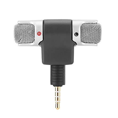 Wireless Microphone Recording 3.5mm Mini Mic Digital Stereo Microphone Plug and Play Mic Professional Handheld External Microphone for Digital Media Mobile Phones PC and Recorders No Battery Required