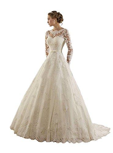 LYDIAGS, abito da sposa a trapezio con applique di pizzo, nastro e strascico, a manica lunga White 52