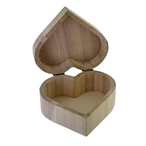 Harilla Base de Caja de Almacenamiento de Cajas de Regalo de Caja de Joyería de Madera de Madera Sin Terminar en Forma de Corazón para