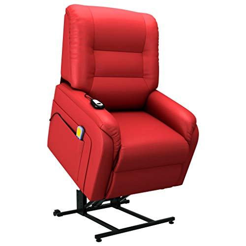 vidaXL Fernsehsessel Elektrisch mit Aufstehhilfe Taillenheizfunktion Massagesessel Aufstehsessel Relaxsessel TV Sessel Rot Kunstleder