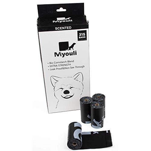 Miyouli Hundekotbeutel, Bio-Maisstärke-Mischung, umweltfreundlich, extra stark, 100% auslaufsicher, 315 Stück für 21 Rollen, mit Meereswindduft