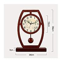 taishizhongbiao 卓上時計、時計、木製時計、リビングルーム、サイレントクロック、片面デスクトップ装飾(26 * 7 * 36cm) 時計を置く (Color : D)