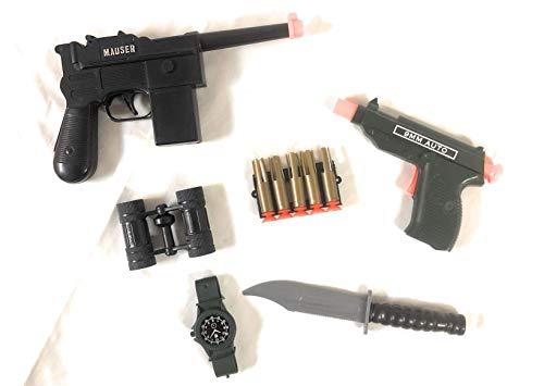Toy Guns with Darts - Military Set - 2 Toy Gun Pistols, 5 Bullets , Knife, Binoculars - Costume Accessory