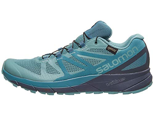 Salomon Women's Sense Ride GTX Invisible Fit Trail Running Shoes, Trellis/Graphite/Hydro., 9