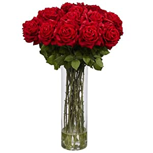 Nearly Natural 1214 Giant Rose Silk Flower Arrangement, Red