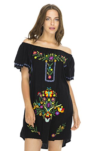 Back From Bali vestido corto para mujeres, sin hombros, túnica bordada estilo mexicano, L, Negro