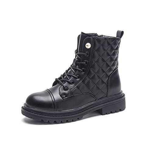 AQTEC Mujer Planas Botas Cordones Punta Redonda Cuero de Combate Botas Antideslizante al Aire Libre Militar Motero Botas Zapato,Negro,38 EU