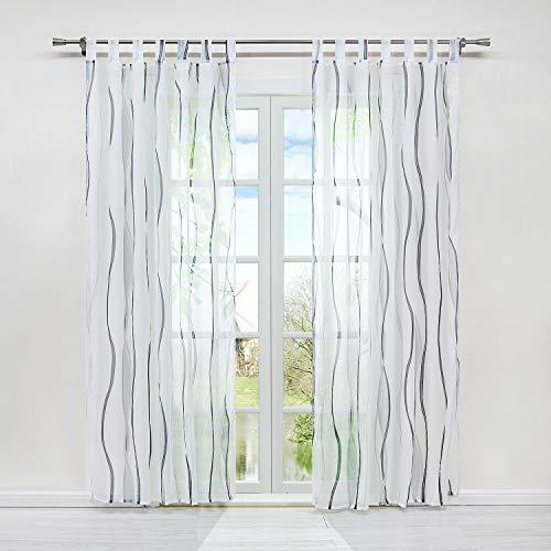 HongYa 1er-Pack Voile Gardine Transparenter Vorhang mit Schlaufen Wellen Druck H/B 175/140 cm Weiß Silber