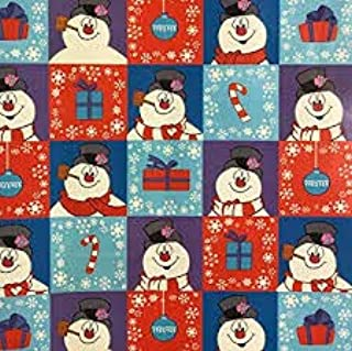 Frosty The Snowman Merry Christmas Holiday Gift Wrapping Paper with Gridlines 60 sq ft 1 Roll (Bonus: FF Card Games - Great Stocking Stuffer)