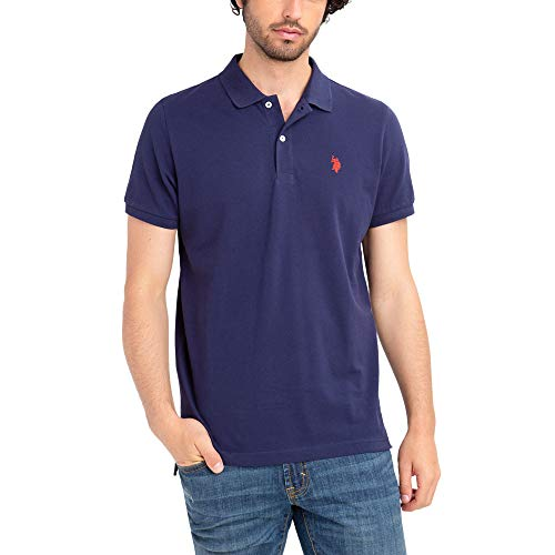 U.S. Polo Assn. Mens Classic Small Pony Solid Pique Polo Shirt - Classic Navy, Small
