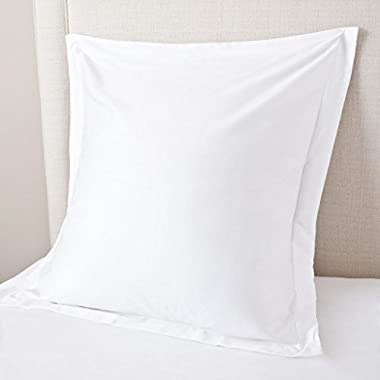 KP Linen White Pillow Shams Set of 2 - Luxury 550 Thread Count 100% Egyptian Cotton Cushion Cover Euro Size Decorative Pillow Cover Tailored Poplin European Pillow Sham (2 Pack, Euro 24'' x 24'')
