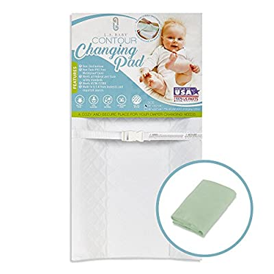 """[Combo Pack]LA Baby Waterproof Contour Changing Pad 32"""" & Mint Terry Cover - Made in USA. Easy to Clean, Non-Skid Bottom, Safety Strap, Fits All Standard Changing Tables for Best Diaper Change"""