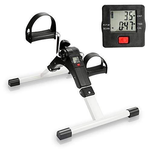 wolketon Pedales Estaticos, Mini Bicicleta Estática con Pantalla LCD, Ejercitador de Pedal Resistencia Ajustable, Máquinas de Piernas para Hacer Ejercicio en Casa