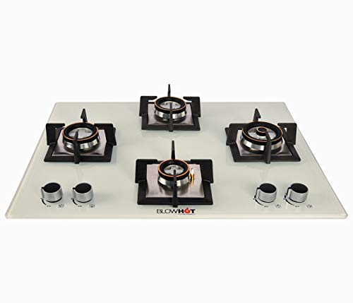 BLOWHOT Majesty Gas Hob 4 Burner, Auto Ignition, 8 mm Glass Top,...