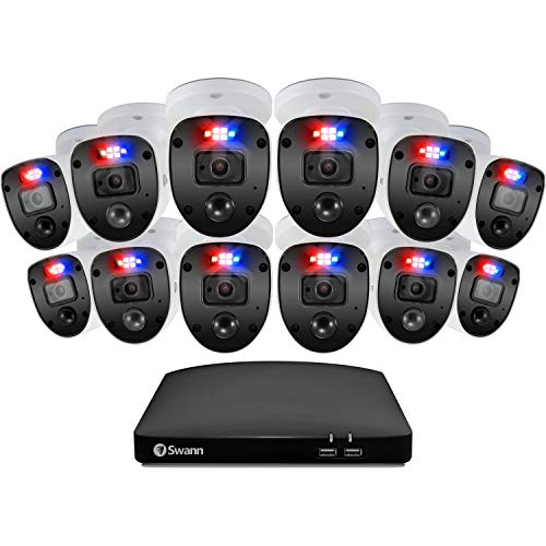 Swann Home Security Camera System 16 Channel 12 Cameras DVR CCTV, Wired Surveillance 1080p Full HD + 1TB HDD, Color Night Vision, Heat & Motion Sensing, Alexa + Google, SWDVK-16468012SL-US