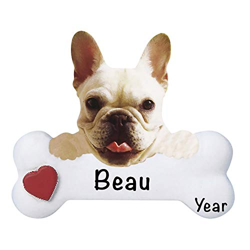 Personalized French Bulldog Dog Bone Ornaments for Christmas Tree - Polyresin French Bulldog Dog Ornaments - Cutest French Bulldog Gifts for Bulldog Lovers - Dogs First Christmas Ornament 2021