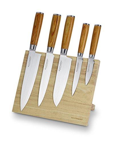 Echtwerk Damastmesser Set 6 Teilig, Holz, Silber, 21,5 x 12,5 x 35,7 cm, 6-Einheiten(5 Messer + Messerblock)