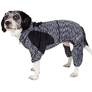 Pet Life Active 'Downward Dog' Heathered Performance 4-Way Stretch Two-Toned Full Body Warm Up Hoodie