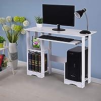 Lovensiki Study Home Office Desk with Keyboard Tray & Book Shelf