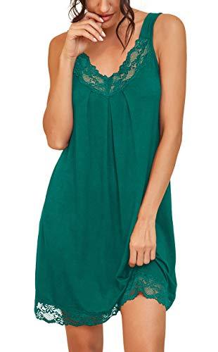 PrinStory Women's Loose Full Slips Lace Nightgown Chemise Sleepwear Cotton Jersey Lingerie US Medium Lake blue