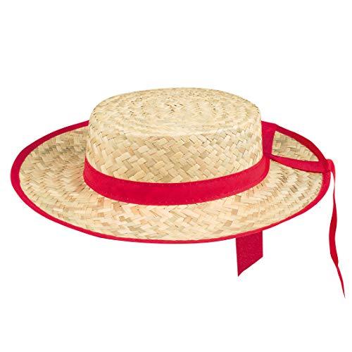 Amakando Lindo Sombrero de Verano gondolero / Marrón-Rojo Talla de Sombrero 59 / Sombrero de Carnaval Sierra Circular Festival y Fiestas temáticas