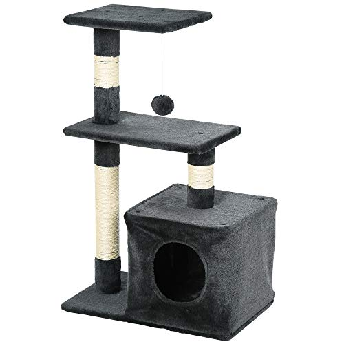 Pawhut Árbol Rascador para Gatos Centro de Múltiples Actividades de Mascotas con Postes Sisal Plataformas Caja Bola Colgante Estilo Elegante 50x30x80 cm Gris
