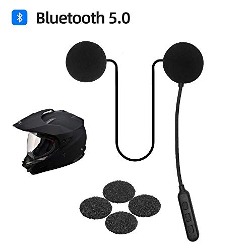 JZAQ Motorcycle Helmet Bluetooth Headset,Bluetooth 5.0,Waterproof Motorcycle intercom Headset,Speakers Hands Free,Music Call Control,30 Hours Playing time High Sound Quality System (Black)