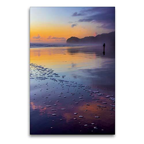 Premium Textil-Leinwand 60 x 90 cm Hoch-Format Sonnenuntergang am Piha Beach, Neuseeland | Wandbild, HD-Bild auf Keilrahmen, Fertigbild auf hochwertigem Vlies, Leinwanddruck von Stefanie Pappon
