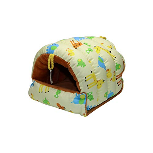 Bird Nest House Winter Warm Hammock Happy Hut Cave Bed for Parrot Budgie Parakeet Cockatiel Conure Hamster Mouse Chinchilla (L, Yellow)