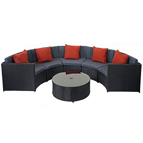Mendler Poly-Rattan Garnitur rund HWC-E17, Gartengarnitur Sitzgruppe ~ schwarz, Polster dunkelgrau, Kissen terrakotta