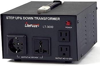 LiteFuze LT-3000 3000 Watt Voltage Converter Transformer - Step Up/Down - 110V/220V - Circuit Breaker Protection [5-Years Warranty]