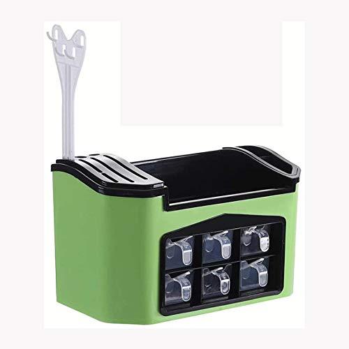 Zuoao Spice rack multifunctional kitchen countertop storage rack, used for seasoning tableware knife holder soy sauce bottle, tableware holder with seasoning box, tray knife holder,Green